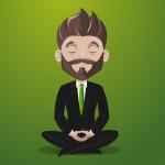 Businessman practicing meditation