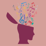 Musical notes coming out of a silhouetted head.