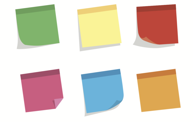 Multi-colored sticky notes